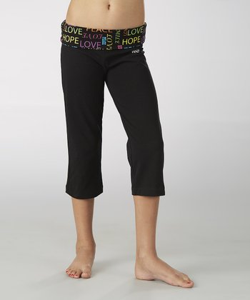 Black Wordplay Fold-Over Capri Pants