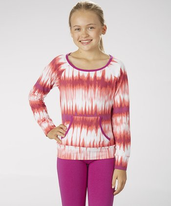 Neon Purple Tie-Dye Boatneck Top - Girls