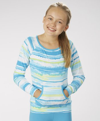Hawaiian Ocean Tie-Dye Boatneck Top - Girls