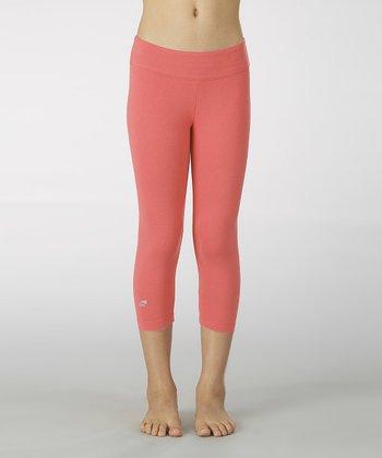 Diva Pink Sanded Dry Wik Leggings - Girls