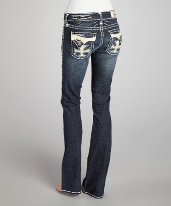 Blue Dana Point White Stitch Bootcut Jeans