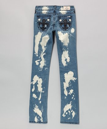 Medium Blue Burnout Hermosa Beach Straight-Leg Jeans