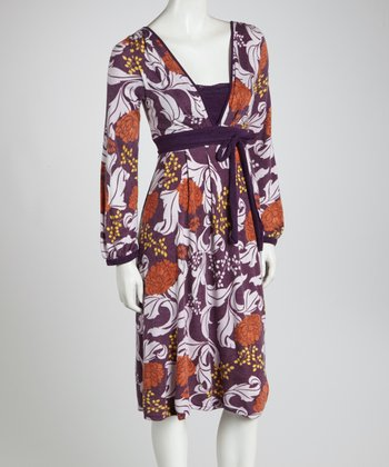 Purple & Orange Floral Empire-Waist Dress