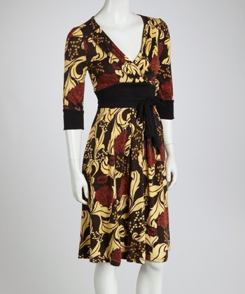 Black & Red Floral Surplice Dress