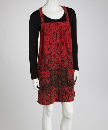 Red & Black Abstract Pocket Dress