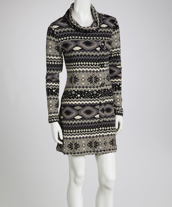 Gray Tribal Long-Sleeve Tunic