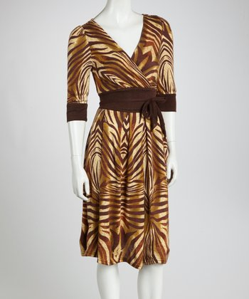 Brown & Beige Animal Surplice Dress