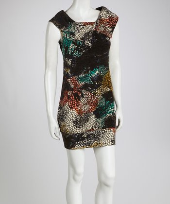 Rust & Turquoise Abstract Dress