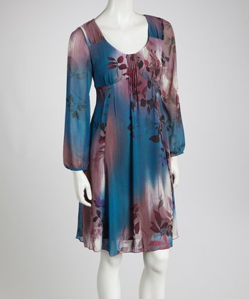 Blue & Purple Floral Empire-Waist Dress