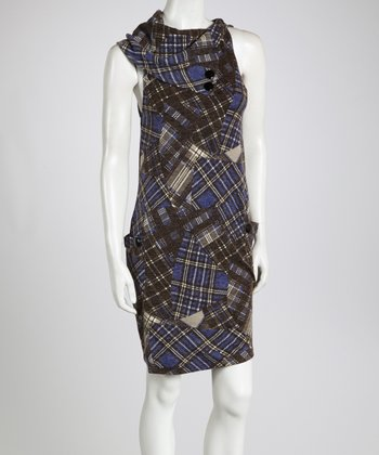 Blue Patchwork Plaid Sleeveless Tunic