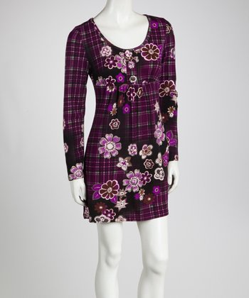 Purple Floral & Plaid Long-Sleeve Tunic