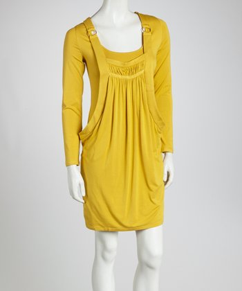Mustard Pocket Scoop Neck Dress