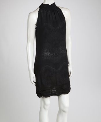 Gray & Black Shimmer Gathered Dress