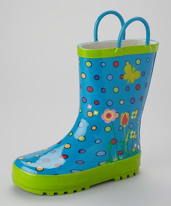 Blue Polka Dot Rain Boot