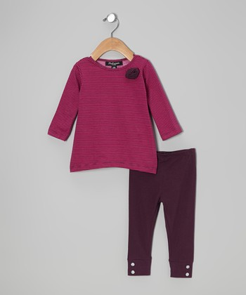 Fuchsia Stripe Melanie Tunic & Purple Leggings - Infant