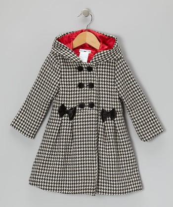 Black & White Houndstooth Hooded Swing Coat - Infant