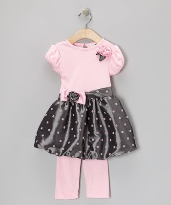 Gray & Pink Taffeta Bubble Dress & Leggings - Toddler & Girls