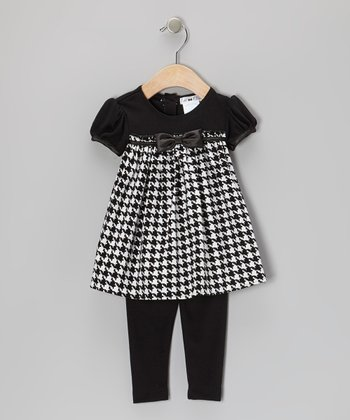 Black & White Houndstooth Corduroy Dress & Leggings - Infant