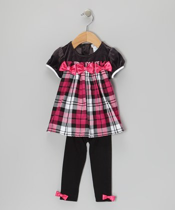 Pink & Gray Plaid Dress & Leggings - Infant, Toddler & Girls
