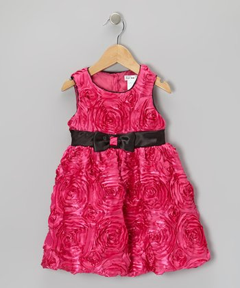 Fuchsia Floral Ruffle Bubble Dress - Toddler & Girls