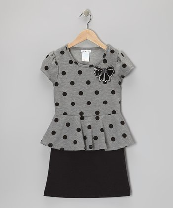 Gray & Black Polka Dot Peplum Dress - Girls