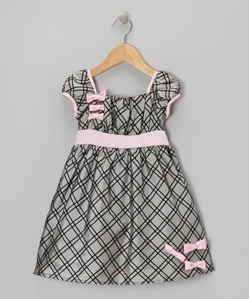 Silver & Pink Bow Taffeta Dress - Infant, Toddler & Girls