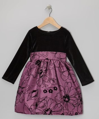Purple & Black Taffeta Dress - Infant, Toddler & Girls