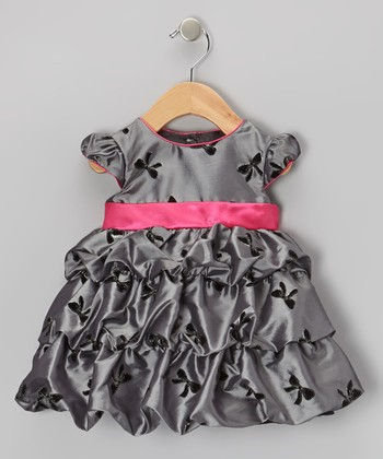 Silver & Fuchsia Bow Taffeta Bubble Dress - Infant