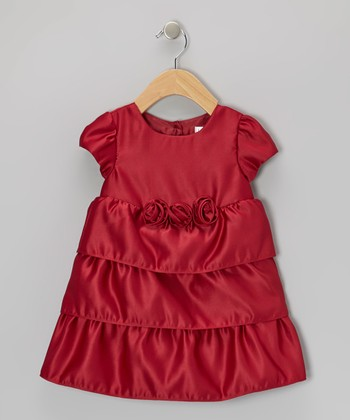 Burgundy Tiered Satin Dress - Infant
