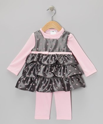 Pink & Gray Polka Dot Taffeta Tunic & Leggings - Infant
