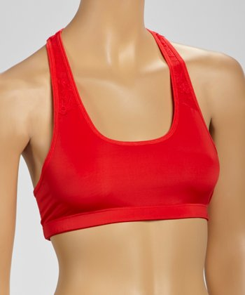 Fire Red Microfiber & Lace Sports Bra - Women