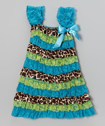 Blue & Green Giraffe Ruffle Dress - Infant, Toddler & Girls