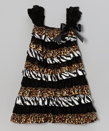 Black & Brown Leopard Zebra Ruffle Dress - Infant, Toddler & Girls