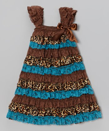 Brown & Blue Giraffe Ruffle Dress - Infant, Toddler & Girls