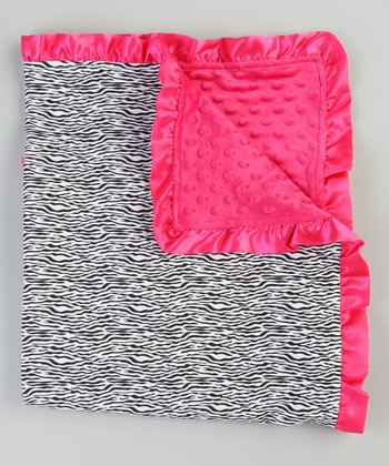 Hot Pink & Black Zebra Stroller Blanket