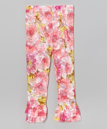 Pink & Yellow Floral Lace Ruffle Leggings - Toddler