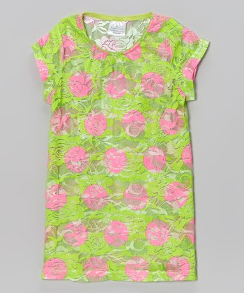 Lime & Pink Floral Lace Tee - Toddler