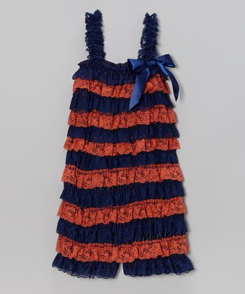Orange and Navy Romper - Infant, Toddler & Girls
