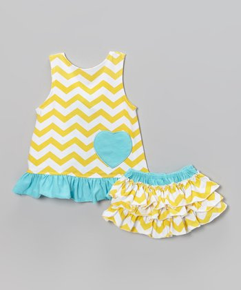 Yellow & Aqua Zigzag Swing Top & Ruffle Diaper Cover - Infant