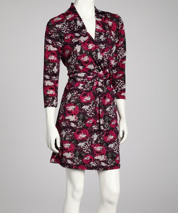 Black & Plum Surplice Dress