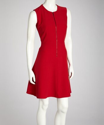 Scarlet Zipper A-Line Dress