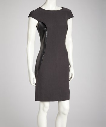 Gray & Black Faux Leather Dress