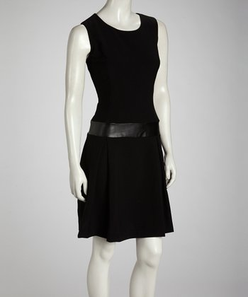 Black Faux Leather Panel Dress
