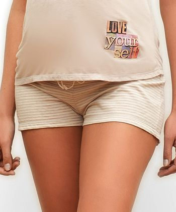 Beige Joy Maternity Shorts
