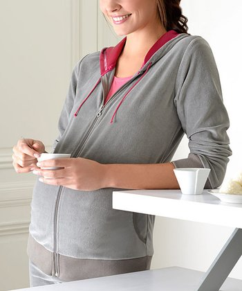 Khaki Velvet Maternity & Nursing Zip-Up Hoodie