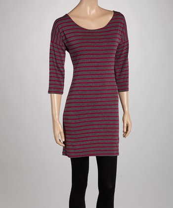Charcoal & Fuchsia Stripe Tunic