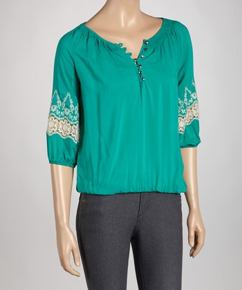 Jade Embroidered Top