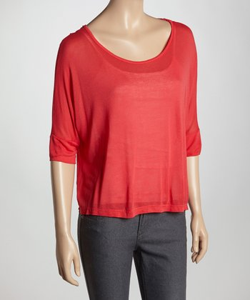 Coral Sheer Scoop Neck Top