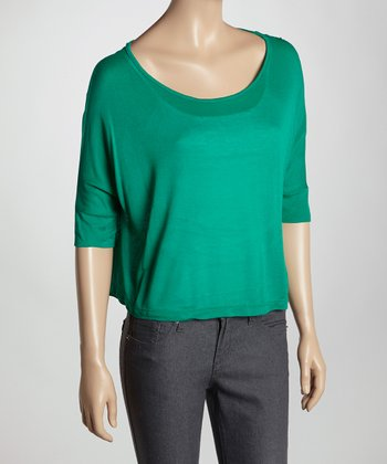 Green Sheer Scoop Neck Top