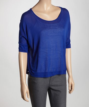 Royal Sheer Scoop Neck Top